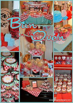 "blue and red ""bun in the oven"" baby shower; use our gingham blue or red linens over turquoise to achieve this look!"