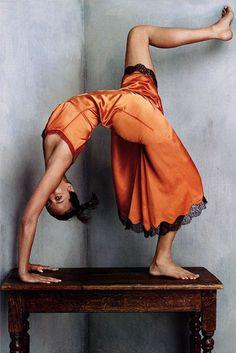 Christy in Prada by Steven Klein for Vogue October 2002. #frockfriday #yoga