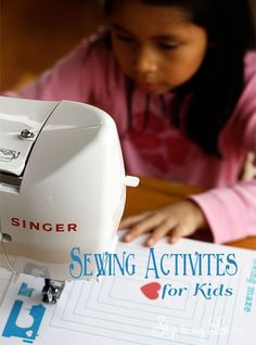 Simple fun way to get kids sewing! Free printable sewing sheets. Learn to handle the sewing machine by doing a maze and dot to dot!