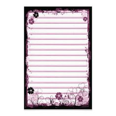 Grunge Swirl Flowers Lined Stationery White Pink