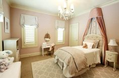 A room fit for a princess! This is a beautifully elegant space that can grow with a young girl over time.    Marie Flanigan Interiors