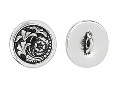 TierraCast Antique Silver-Plated Pewter Czech Flower Button