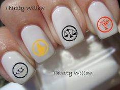 Divergent Factions Nail Decals by ThirstyWillow on Etsy, $2.25. I wish I'd seen these in time to buy them and wear them to the movie premiere.