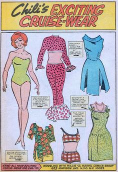 """Chili's exciting cruise-wear paperdolls -- I loved these comics and dreamt of having an outfit selected for Katy Keene, whose clothes were always identified by the """"designer"""" reader."""