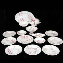 Rare 15 piece Red Dolls Dinner Set POLICHINELLE ~ K&G Luneville France 1890