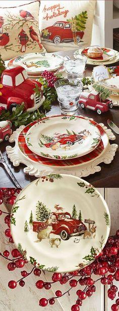 54 ideas vintage christmas table settings rustic for 2019 Christmas Red Truck, Christmas China, Christmas Dishes, Black Christmas, Cozy Christmas, Country Christmas, Vintage Christmas, Christmas Crafts, Xmas
