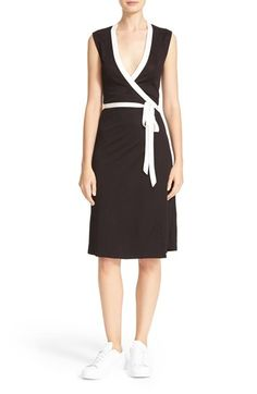 Free shipping and returns on Diane von Furstenberg Valena Wrap Dress at Nordstrom.com. Bright white trim traces the edges of sporty black wrap dress cut from silky jersey with soft, fluid drape.