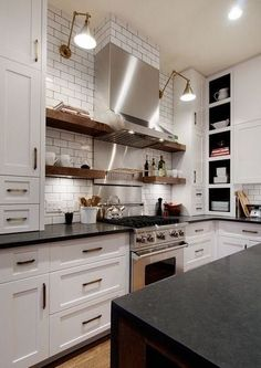 Home Remodeling White Cabinets White Cabinets Subway Tile Classic Kitchen, Farmhouse Style Kitchen, Modern Farmhouse Kitchens, Rustic Kitchen, New Kitchen, Home Kitchens, Kitchen Decor, Buy Kitchen Cabinets, Kitchen Flooring