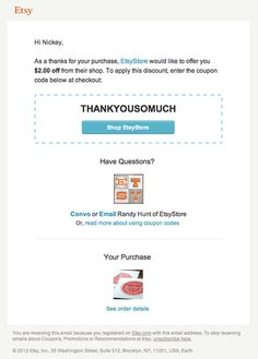You can now email coupon codes via Etsy