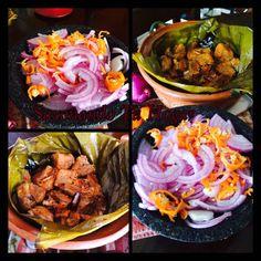 Cochinita pibil  de mi cocina facil y rapido ☑️Comparte la receta en tu muro * Receta-Mary S Cuellar Ingredientes * 1 chile ancho, desvenado *  30 gramos de achiote *  1 diente de ajo *             pisca de oregano *  2 naranjas, su jugo *  1/2 limón, su jugo *  Sal, al gusto o consome de pollo granulado *  1 kilo pierna de cerdo, en cubos * hojas de platano las necesarias * papel aluminio el necesario Preparacion✔️✔️ 1. Hierve el chile ancho durante 5 minutos, hasta que esté sua