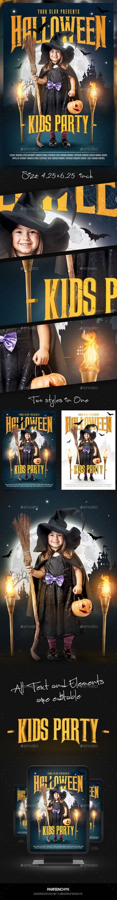 Kids Halloween Flyer Template — Photoshop PSD #magic #halloween party • Download here → https://graphicriver.net/item/kids-halloween-flyer-template/13065793?ref=pxcr