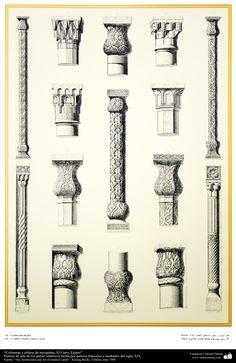 Pintura de arte de los países islámicos- Columnas y pilares de mezquitas, El Cairo, Egipto | Galería de Arte Islámico y Fotografía