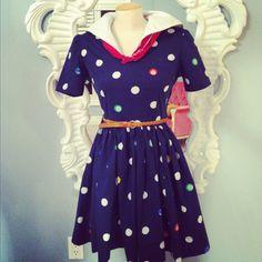 Polka Dot Sailor Dress by StyleApparelDesign on Etsy, $50.00