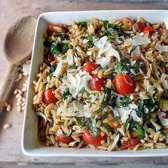 Orzo with Spinach and Tomatoes