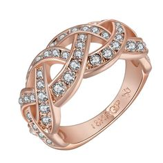 Rose Plated Swirl Design Classical Wedding Band Size, Women's