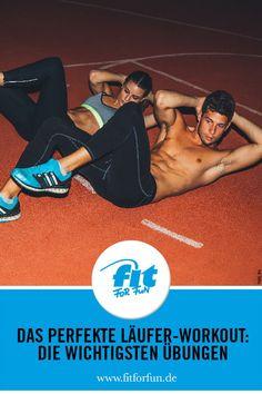 Auch Läufer brauchen Muckis! Daher findest du hier je vier Basisübungen für ein Kraft-Workout und ein Stretching-Programm, die speziell auf die Bedürfnisse von Läufern  zugeschnitten sind. Viel Spaß beim Auspowern! #Laufen #Joggen #Workout