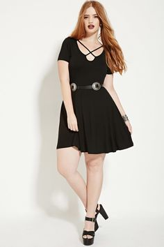 21e3a77c2cf Forever 21. Short Sleeve V-neck Black Plus ...