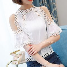 Blusas Plus size Women Blouses 2017 Summer Tops Fashion Shirt Women White Lace Blouse Hollow Out Chiffon blouse Off Shoulder Top(China (Mainland)) Shoulder Off, Cold Shoulder, Modelos Plus Size, White Lace Blouse, White Embroidery, Mode Style, Lace Tops, Blouse Designs, Blouses For Women