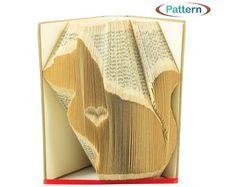 Folded book art Book folding patterns Birthday by WolFabricBooks Book Folding Patterns, Pattern Books, Sharp Pencils, Find A Book, Bone Folder, Folded Book Art, Graph Paper, Cat Sitting, Heart Patterns