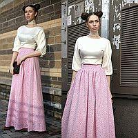 Пудровая юбка макси