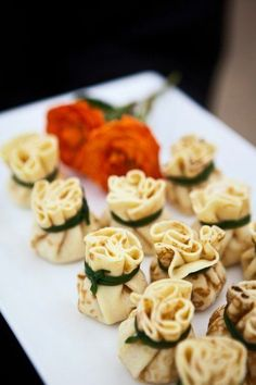 Tasty food is one of the biggest pleasures in our life, so it will help to impress your guests and make them happy! Have you already decided on the food bar to organize, and what will you serve? We've gathered several ideas of summer wedding appetizers. Wedding Appetizers, Yummy Appetizers, Wedding Canapes, Indian Appetizers, Tapas, Brie, Sandwiches, Wedding Catering, Catering Events