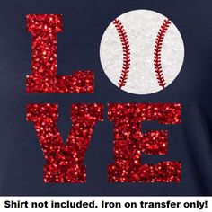 Glitter Baseball LOVE Iron On Baseball LOVE by IHeartHoundstooth