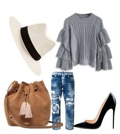 A fashion look from February 2017 featuring bell sleeve shirt, blue distressed jeans and pointed toe stilettos. Browse and shop related looks. Dsquared2, Uggs, Shoe Bag, Polyvore, Stuff To Buy, Shopping, Shoes, Collection, Design