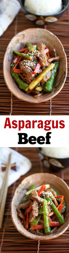 Asparagus beef is a Chinese recipe made with asparagus and beef in yummy brown sauce.  This recipe takes 20 mins | rasamalaysia.com