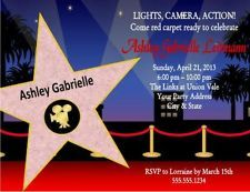 Hollywood Star Movie Theater Birthday Party Invitations Custom Personalized