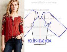 MOLDE DE BLUSA MANGA RAGLAN -94 - Moldes Moda por Medida