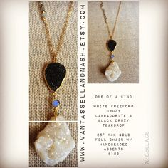 One of a kind druzy teardrop, labradorite and Freeform white druzy necklace. Handcrafted by VanTassell & Nash