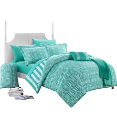 Get refreshing style; soothe your mind and body with Chic Home Lyon Geometric and Striped printed REVERSIBLE comforter set. Geometrical figures on one-side compliment the stripes on other side that gi