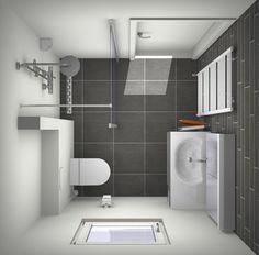 Ontwerp kleine badkamer in veelvoorkomende afmeting: 2 x 2 meter. Alles over kleine badkamers op: http://kleinebadkamers.nl/