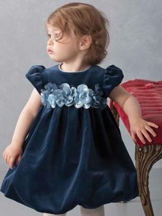 """I love this in white or pink for Lillienne for Easter. Biscotti """"Winter Blooms"""" Beautiful Navy Velvet Bubble Dress. This """"Winter Blooms"""" dress has a soft flowerette waistline and sweet bubble hem."""
