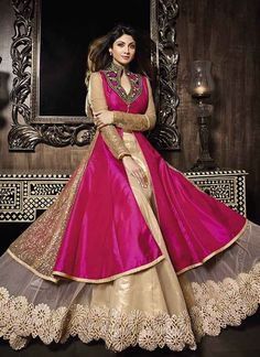 Anarkali Magenta And Cream Pure Silk With Net Bollywood Suit