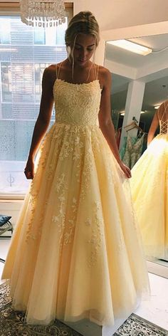 Champagne Prom Dresses Long, Evening Dress ,Winter Formal Dress, Pageant Dance Dresses, Graduation School Party Gown 1374 Related posts:Kleid Lang Festlich ꧁༺Haare jull༻꧂Mermaid Black Satin Long Prom Dresses - Dress girlA-Line V-Neck Spaghetti Straps. Pretty Prom Dresses, Hoco Dresses, Tulle Prom Dress, Cute Dresses, Wedding Dresses, Tulle Lace, Yellow Prom Dresses, Yellow Formal Dress, Prom Dresses Long Modest