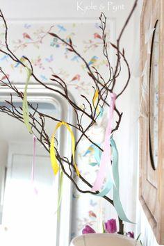 seidenfein 's Dekoblog: Kleine Vor-Frühlingsdeko * a little pre - spring decoration with ribbons and birds