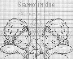 Hobby lavori femminili - ricamo - uncinetto - maglia: coppia di angeli a punto croce