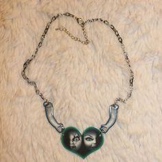 527e9cc88 The Bride of Chucky necklace, heart, unique, strange, horror, green, baby  doll