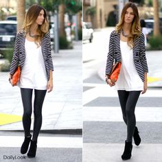 Striped Knit Double Breasted Jacket by Ellison, White Chiffon Tunic by Naked Zebra, Pull up Leatherette leggings by Milky Way, Two-tone canvas envelope clutch by Street Level. Looks so chic!:)