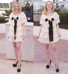 Elle Fanning Stylish in Chanel Lace-Tiered Dressat Cannes Film Festival