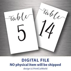 5x7 Table numbers printable Black and White by PrintCutWorld