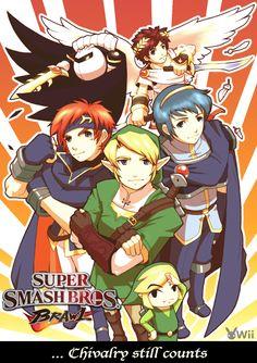 Super Smash Bros Brawl Guys fan art…pardon me, but isn't that Roy? Roy isn… Super Smash Bros Brawl, Meta Knight, Knight Art, Geeks, Fan Art, Princesa Zelda, Video Game Art, Video Games, Star Fox