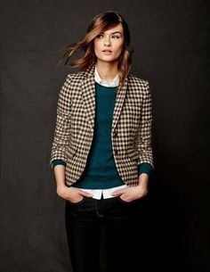 British Tweed Blazer Coats & Jackets at Boden. I like the outfit. Are thos - Women Blazer Jackets - Ideas of Women Blazer Jackets - British Tweed Blazer Coats & Jackets at Boden. I like the outfit. Are those eyebrows for real? Mode Outfits, Fall Outfits, Casual Outfits, Fashion Outfits, Womens Fashion, Fashion Blouses, Fashion Capsule, Fashion Belts, Blazer Outfits