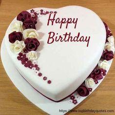 Birthday Cake For Wife, Heart Shaped Birthday Cake, Birthday Cake Writing, Adult Birthday Cakes, Birthday Cakes For Women, Birthday Desserts, Happy Birthday Cakes, Husband Birthday, Birthday Nails