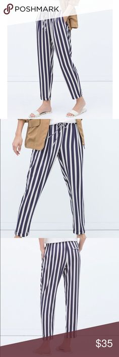Zara navy and white striped pants size Small Great statement pair of striped navy and white pants. Tapered bottom cuff, and stretch drawstring waist for easy fit. Thin, breezy material does not wrinkle easily and makes for a great travel pair of pants! Size small. Zara. Like new. Zara Pants