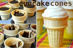 Vegan Cupcake Cones... The idea is good perhaps though I would make one with old fashioned frosting.