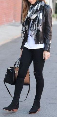 so simple but chic - black leather jacket plaid scarf black jeans black boots white tee