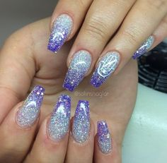 Gorgeous silver and purple glitter ombre nails