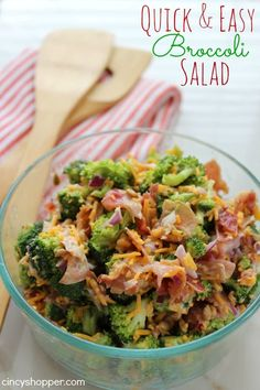 We have a graduation party we are attending tonight so I whipped up this Easy Broccoli Salad Recipe to take along for our dish to pass. I know it is going t